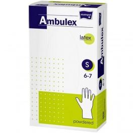 Rękawice zabiegowe Ambulex lateksowe, pudrowane, niejałowe S 100 szt.