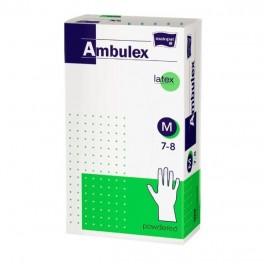 Rękawice zabiegowe Ambulex lateksowe, pudrowane, niejałowe M 100 szt.
