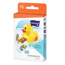 Zestaw plastrów wodoodpornych dla dzieci Happy Tatoo z opatrunkiem 12 szt.