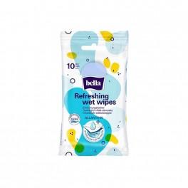 Odświeżające chusteczki nawilżane Bella, formuła antybakteryjna, 10 szt.