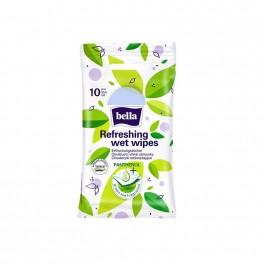 Odświeżające chusteczki nawilżane o zapachu zielonej herbaty, Bella, 10 szt.